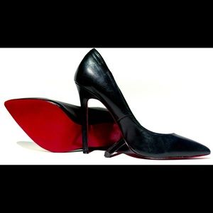 Real Black Leather + Red Bottoms + Pointy Toe